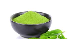 poudre et feuille de thé vert